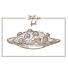 Risotto sketch icon for italian cuisine vector