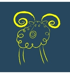 Scribble style yellow ram vector image vector image