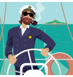 Sea captain on the deck with ships steering wheel vector