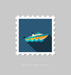 Speed boat stamp summer vacation vector
