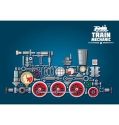 Steam locomotive or train from mechanical parts vector image vector image