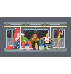 Subway with people flat design vector image