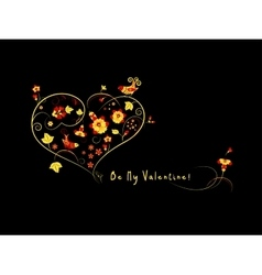 Valentine card with flowers and birds vector