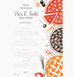 Vintage template with traditional cakes vector