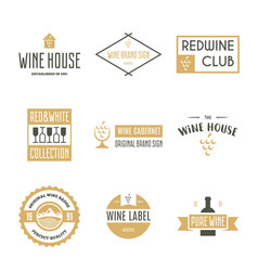 wine logo templates bottle glass bunch of vector image vector image