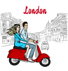 Woman and man driving scooter in london vector