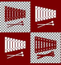 Xylophone sign bordo and white icons and vector