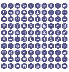 100 target icons hexagon purple vector