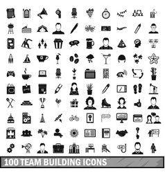 100 team building icons set simple style vector