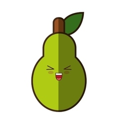 Pear fresh fruit kawaii style isolated icon vector
