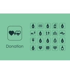 Set of donation simple icons vector