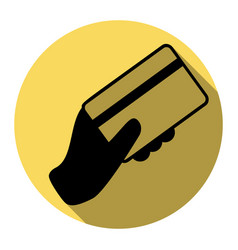 Hand holding a credit card  flat black vector