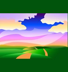 Cartoon stylized idyllic peaceful summer landscape vector