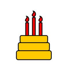 Birthday cake sign logo dessert for holiday cake vector
