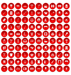 100 recreation icons set red vector