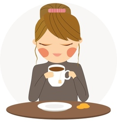 Girl drinks tea vector