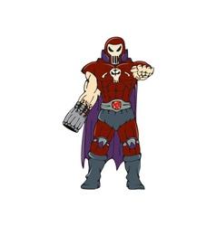 Skull Masked Warrior Pointing Cartoon vector image