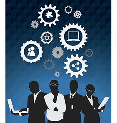 Silhouettes of business people working vector