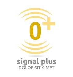 Logo signal number 0 plus yellow figure wireless vector