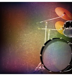 Abstract grunge music background with drum kit on vector