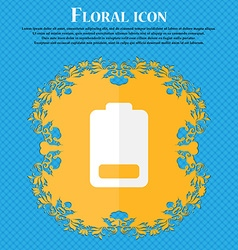 Battery low level electricity floral flat design vector