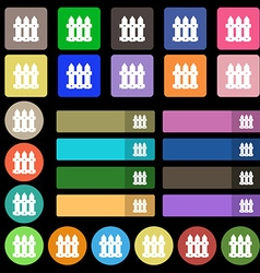 Fence icon sign set from twenty seven multicolored vector