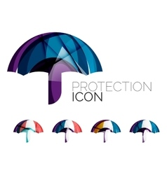 Set of abstract umbrella icons business logotype vector