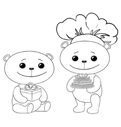 Teddy bears with cake and gift box contours vector