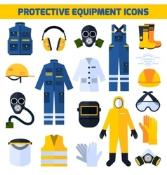 Protective uniforms equipment flat icons set vector