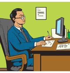 Businessman in office pop art retro style vector