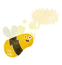Cartoon bee with speech bubble vector