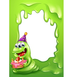A green border design with a monster holding a vector image vector image