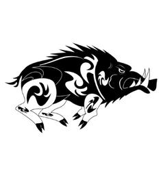 Black and white monochrome wild boar vector