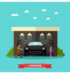 Car wash service concept banners vector