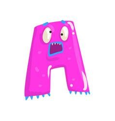 Cartoon character monster letter a vector