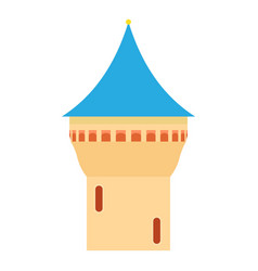 Castle tower with blue pointed dome icon vector