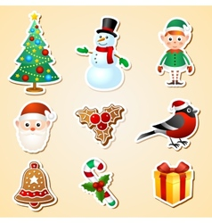 Christmas symbol sticker set vector image vector image