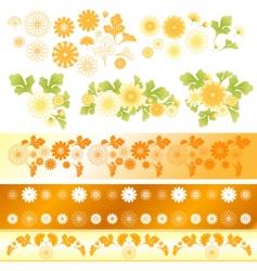chrysanthemum flower elements vector image