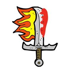 comic cartoon bloody sword vector image vector image