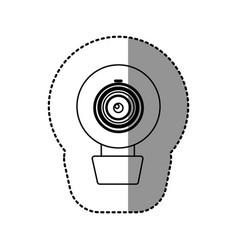 Contour computer camera icon vector