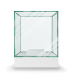 Empty transparent glass box cube for vector