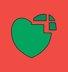 Flat icon design collection heart disease vector