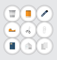 Flat icon stationery set of trashcan copybook vector