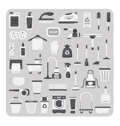 flat icons cleaning set vector image vector image