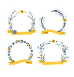 Floral wreath decorative composition with ribbon vector