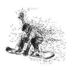 Hand drawing snowboarders vector image