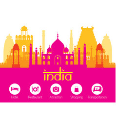 India landmarks skyline with accommodation icons vector