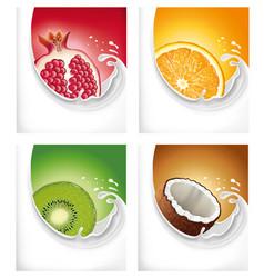 Milk splash with exotic kiwi pomegranate orange vector