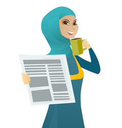 Muslim woman drinking coffee and reading newspaper vector