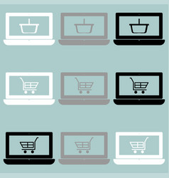 Notebook with basket and cart on the screen icon vector